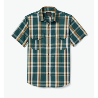 Filson Filson's Washed Short Sleeve Feather Cloth Shirt Green/Gold/White