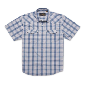Howler Brothers H bar B Snapshirt: Neches Plaid: River Blue