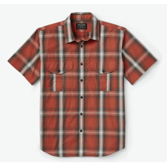 Filson Washed Short Sleeve Feather Cloth Shirt RedBrnCrm