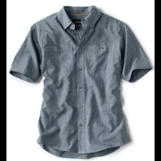 Orvis Tech Chambray SS Work Shirt Blue Chambray