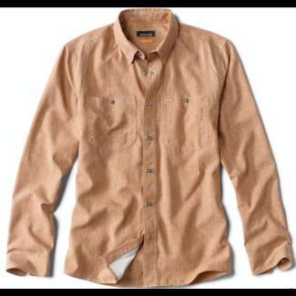 Orvis Tech Chambray Long Sleeve Work Shirt Dark Vicuna
