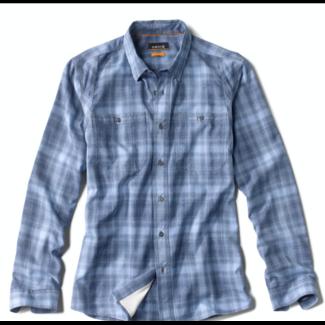 Orvis Tech Chambray Plaid Long Sleeve Shirt Indigo Blue Plaid