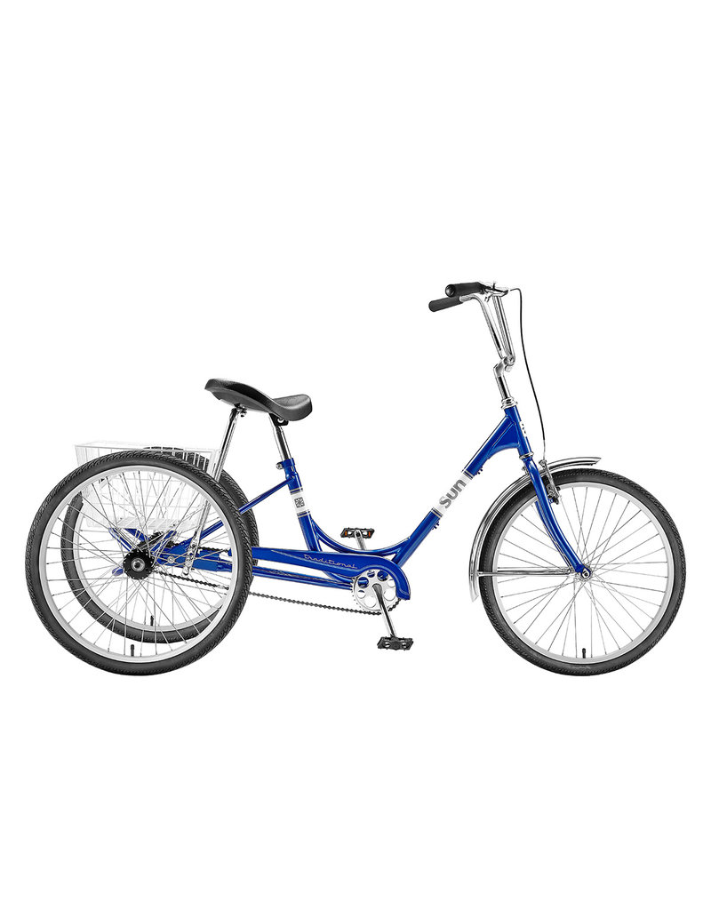 """Sun Bicycles Sun Adult Trike 24"""" Aluminum Wheels with White Basket"""