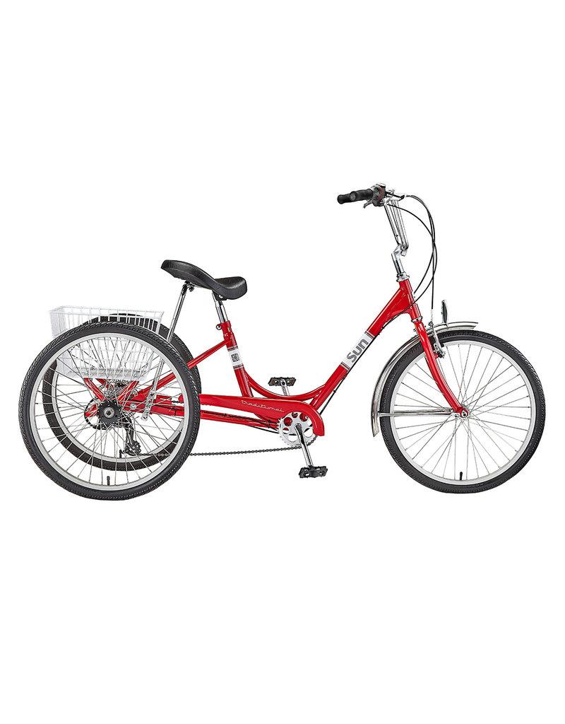 "Sun Bicycles Sun Adult Trike  24"" 7sp Aluminum wheels with basket"
