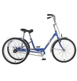 "Sun Bicycles Sun Adult Blue Electric Trike 24"" Aluminum Wheels with White Basket"