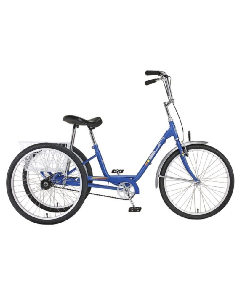 """Sun Bicycles Sun Adult Blue Trike 24"""" Aluminum Wheels with White Basket"""
