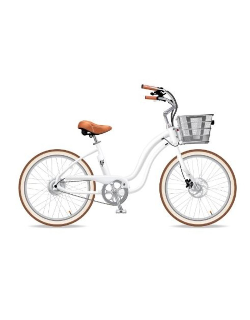 Electric Bike Company Electric Bike Company Model Y, White, single speed with fenders and Red Rims