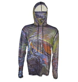 Cognito Fishing Apparel Green Brown SunPro Hoodie