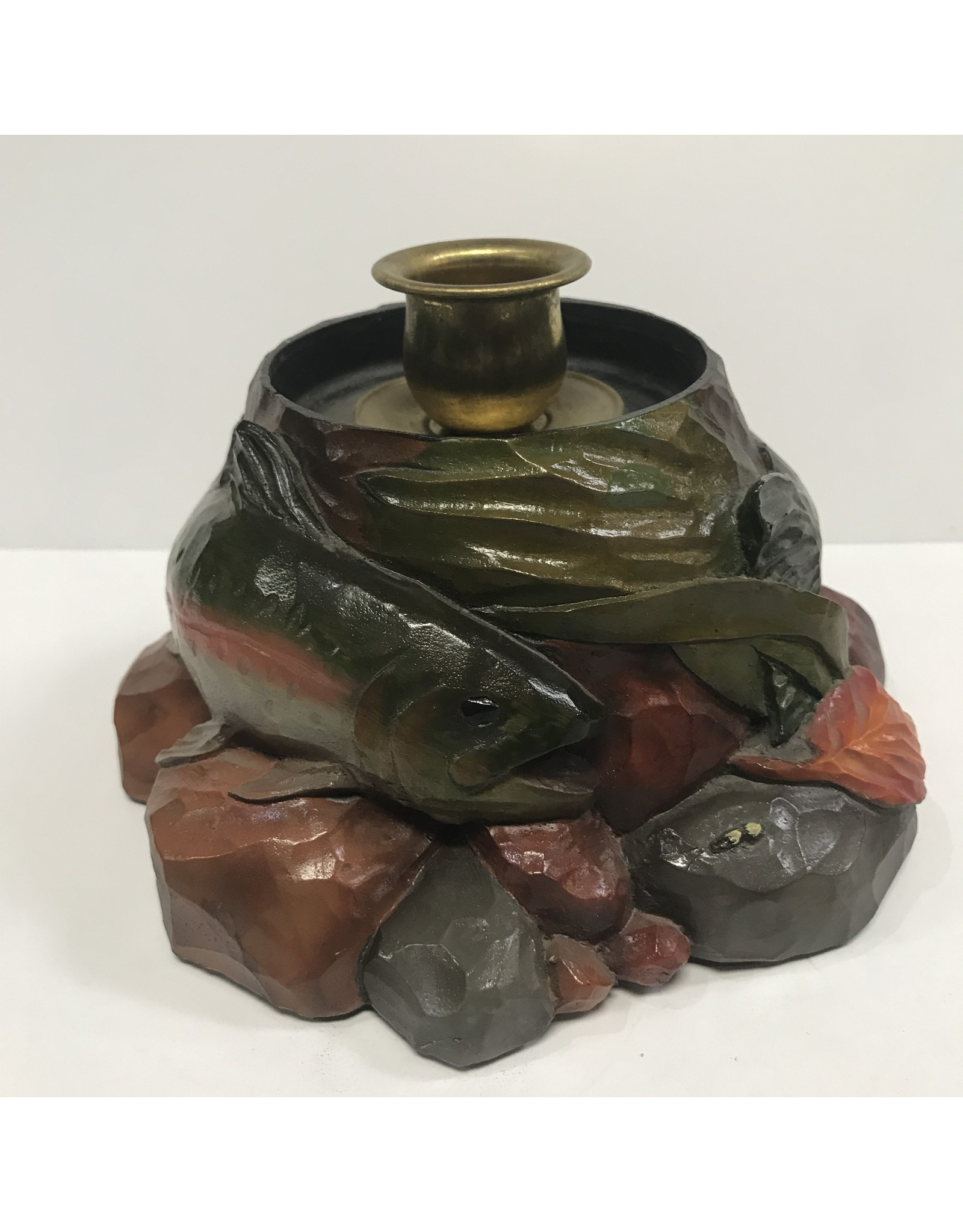Mountain Anlger Trout Candlestick Holder