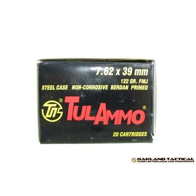 TulAmmo 7.62x39 mm 122 Grain FMJ 20 Cartridges MFG # UL076200 UPC Code # 814950010008