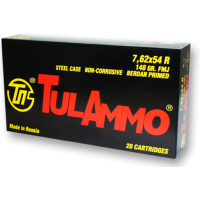 TulAmmo 7.62x54R 148 Grain FMJ 20 Round MFG # TA762548 UPC # 814950011012