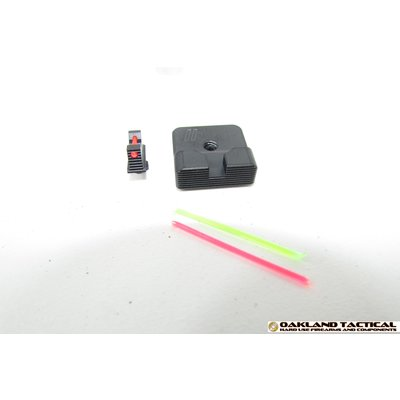Zev Technologies ZEV Technologies .215 Fiber Optic Front Combat v2 Black Rear Sight Kit MFG # SIGHT.SET-215-FO-COM2-B
