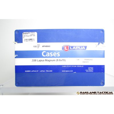 Lapua Lapua Cases .338 Lapua Magnum (8.6x70) 100 Count MFG # 4PH8068 UPC Code # 6418267200110