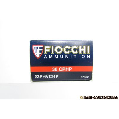 Fiocchi Performance Shooting Dynamics .22 Long Rifle High Velocity 38 CPHP 50 Cartridges MFG # 22FHVCHP UPC Code # 762344710037