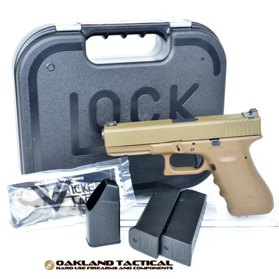 "Glock Glock G17 RTF2 with Vickers Tactical Parts 4.49"" Barrel 9x19mm Flat Dark Earth MFG #PT1750004DE UPC #764503001345"