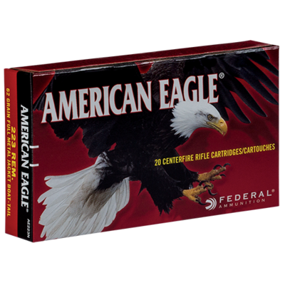 Federal Federal Premium Ammunition American Eagle .223 Rem Full Metal Jacket Boat-tail 62 Grains MFG # AE223N UPC # 029465093488