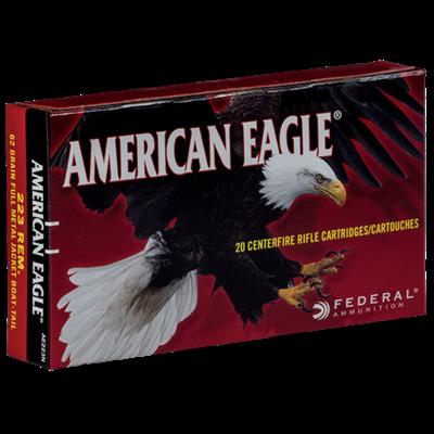 Federal Premium Ammunition American Eagle .223 Rem Full Metal Jacket Boat-tail 62 Grains MFG # AE223N UPC # 029465093488