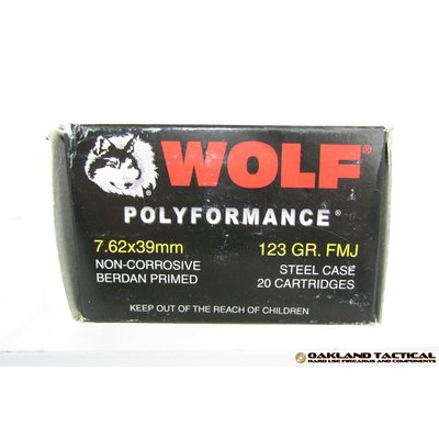 Wolf Performance 7.62x39 mm 123 Grain FMJ 20 Cartridges UPC # 645611762116