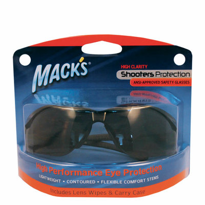 Mack's Shooters Safety Glasses - Smoke with Lens Wipes and Carrying Pouch MFG #: 4480 UPC: 033732044806