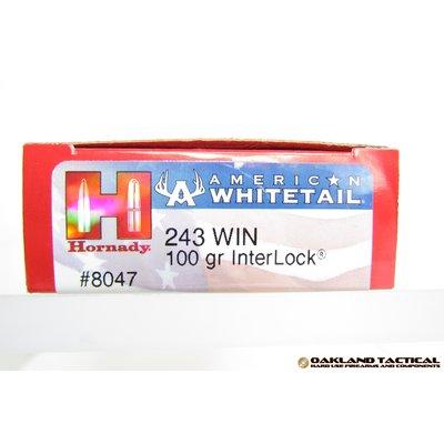 Hornady Hornady .243 Winchester 100 Grain InterLock BTSP American Whitetail 20 Cartridges MFG # 8047 UPC Code # 090255380477