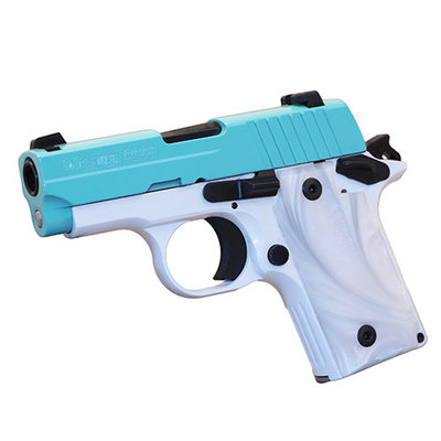 "Sig Sauer Sig Sauer P238 380 ACP, 2.70"" Barrel, 6 Rounds, Pearl White Frame with Robins Egg With Blue Slide MFG# 238-380-TSW UPC# 798681554355"