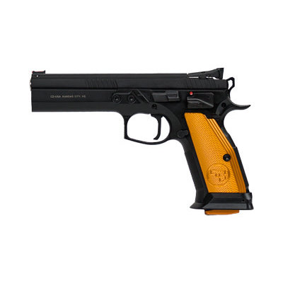 "CZ-USA CZ 75 TS ORANGE 9MM 5.2"" BLK 20RD MFG# 91261 UPC# 806703912615"