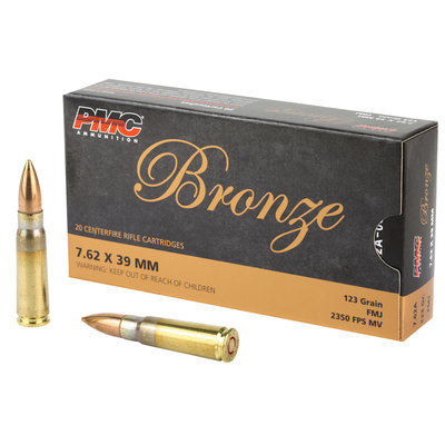 PMC BRNZ 7.62X39 123GR FMJ 20/500 MFG# 7.62A UPC# 741569060318