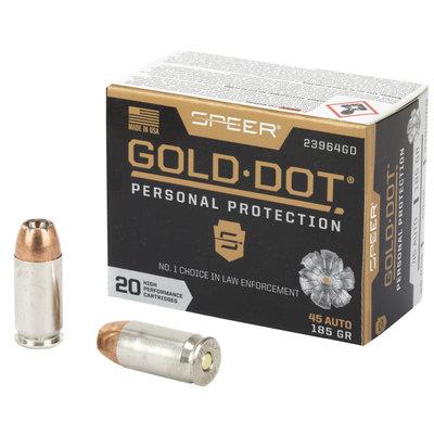 CCI/Speer SPR GOLD DOT 45ACP 185GR HP 20/200 MFG# 23964GD UPC# 604544647273