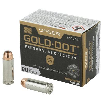 CCI/Speer SPR GOLD DOT 10MM 200GR HP 20/200 MFG# 54000GD UPC# 604544646672