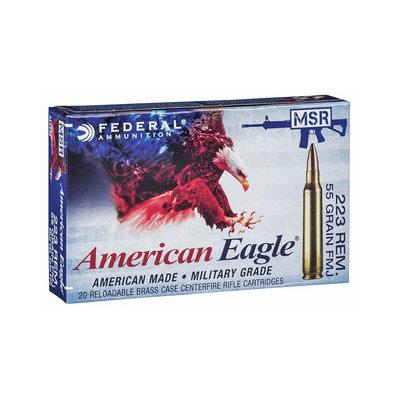 Federal FED AM EAGLE .223REM 55GR FMJ 20/500 MFG# AE223M UPC# 604544620146