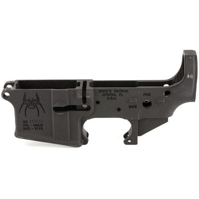 Spike's Tactical Spike's Tactical, STLS018 Spider Fire/Safe, Stripped Lower, Semi-automatic, 223 Rem, 556NATO, Black Finish, ST-15 with Fire/Safe Markings