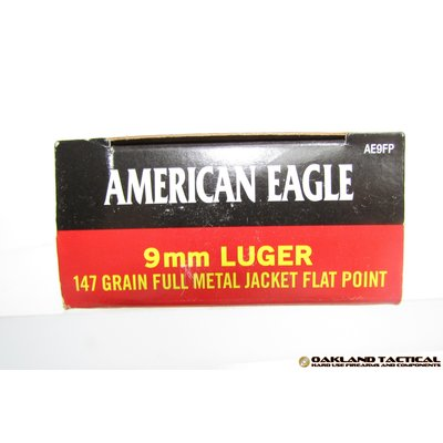 Federal Federal Premium American Eagle 9mm Luger (9x19mm Parabellum) 147 Grain Full Metal Jacket Flat Point MFG # AE9FP UPC Code # 029465089207