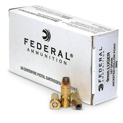 Federal Premium Ammunition Federal - 9mm Luger Ammo, Jacketed Hollow Point 147gr 50 Rounds