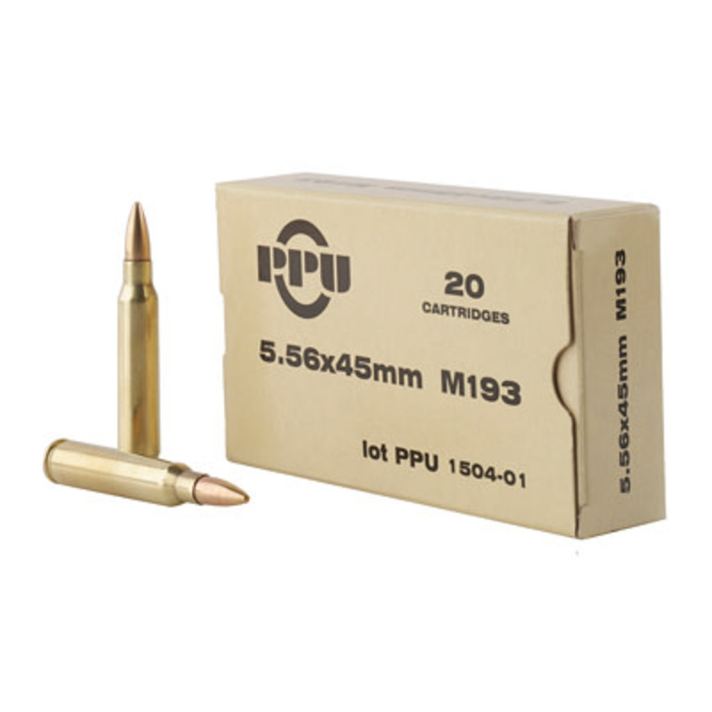 PPU 556NATO M193 55GR FMJ 20/1000 MFG# PPN5561 UPC# 8605003812500