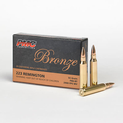 PMC Ammuntion 223A Bronze Rifle FMJ-BT 55 Grain .223 Remington MFG # 223A UPC # 741569060080