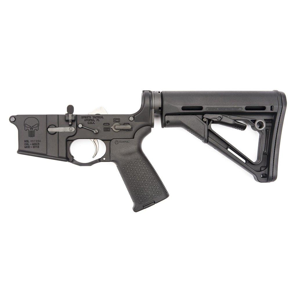 Spike's Tactical Spike's Tactical Complete Lower (Punisher) Enhanced LPK, MOE Grip and CTR Stock, Black