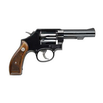"""Smith & Wesson Smith & Wesson 10 Classic 38 S&W Spl +P 6rd 4"""" Blued Blued Carbon Steel Wood Grip UPC# 022188142358"""