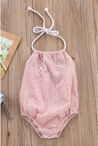Baby Girl Pink Lace Halter Bodysuit