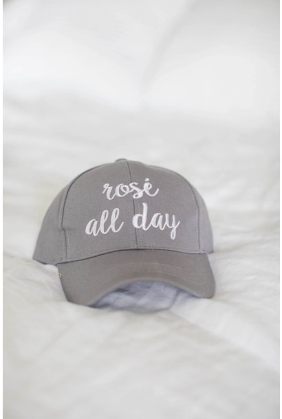 Rose All Day Grey CC Solid Ponytail Baseball Hat
