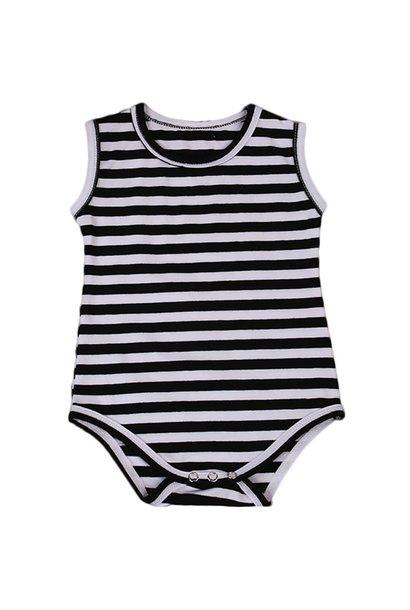 Baby Black Striped Sleeveless Bodysuit