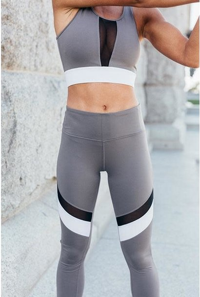 Grey Color Block Mesh Sports Bra