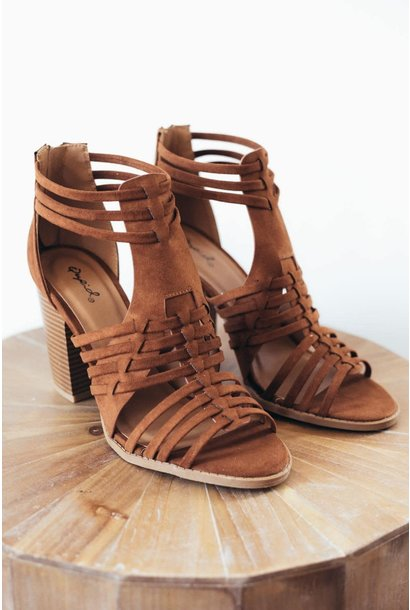 Cadence Chestnut Strappy Weave Heeled Sandals