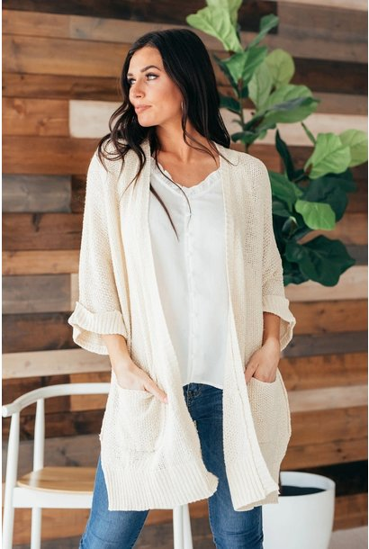 Arielle Natural Half Sleeve Knit Sweater Cardigan