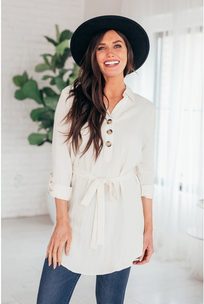 Easy Moves Cream Belted Shirt Dress
