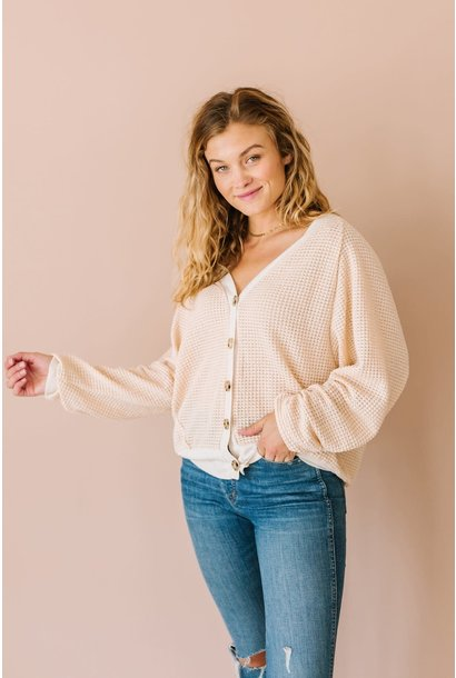 Lottie Natural Waffle Knit Button Down Cardi