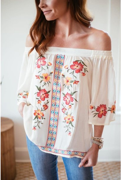 Tia Cream Floral Embroidered Off Shoulder Top