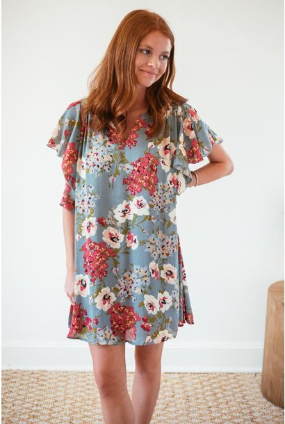 Emmy Grey Floral Print Ruffle Dress