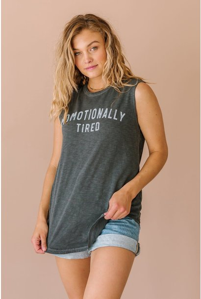 Momotionally Tired Grey Graphic Tank