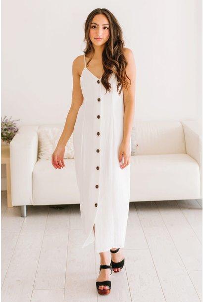 Everly White Button Down Midi Dress