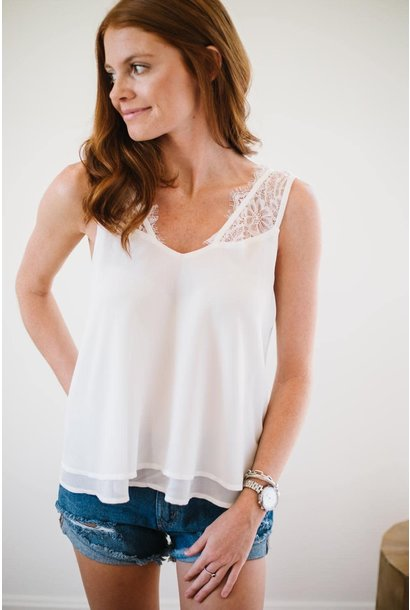 Date Night White Lace Strap Camisole Tank